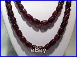 Rare Antique Cherry Amber Barrel Beads Necklace 59.7 Grams 38 Inches Long