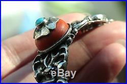 Rare Big Vintage Ethnic and Tribal Vintage Coral Turquoise Silver Bracelet