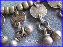 Rare Vintage Antique 25 Tribal Ethnic Bib Necklace S/S Coins 93.3 Gms
