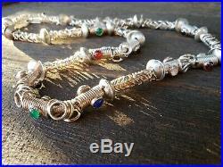 Rare Vintage Artisan Sterling Silver Tribal Multi Color Gem Necklace