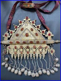 Rare Vintage Huge Afghan Turkmen Necklace Gold-Gilded 817g 12 Across, Worn