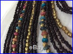 Rare! Vintage Tribal Ethnic Coral Brass Turquoise Multi Bead Art Beaded Necklace