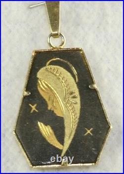 Rare Vtg Spain Steel & 24k Gold Damascene Spanish Mary Pendant For A Necklace