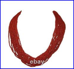 Red Coral Necklace Natural Coral Beads Necklace Vintage Red Coral Necklace