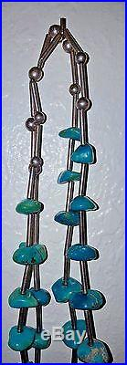 Reduced $200.00 VTG 2 Silver Strand Turquoise Necklace Pendant Native Indian