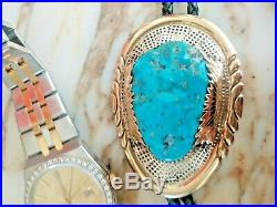 Robert Bernice Leekya Zuni Navajo 14k Gold Turquoise Bolo Tie