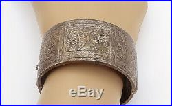 S&P ENGLAND 925 Silver Vintage Antique Swirl Etched Bangle Bracelet B8148