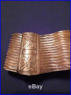 SALE! 2 VTG Trabzon Turkey 930 Silver Woven Bracelets & 900 Silver Earrings 97g
