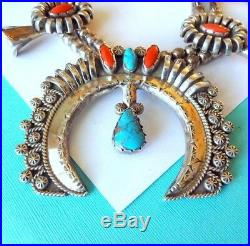 SALE. Navajo Red Coral and Turquoise Sterling Silver Squash Blossom Necklace