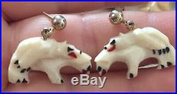 SCARCE 50s Alaskan BEAR Figures Hand Carved & Painted Earrings
