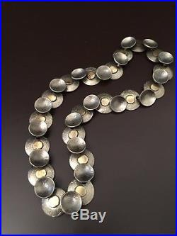 SIGNED Vtg Modernist WINIFRED MASON CHENET D'HAITI Pewter Brass Choker Necklace