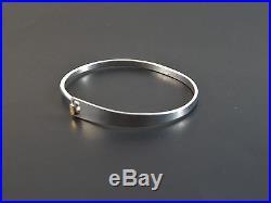 Signed ED LEVIN 925 Sterling Silver 14K Gold Accent Hook Bangle Bracelet