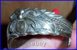 Signed with Hallmark of Lester Craig Silver Cuff Bracelet with Turquoise