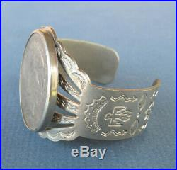 Silver Tone Cuff Bracelet with 1925 Silver Dollar