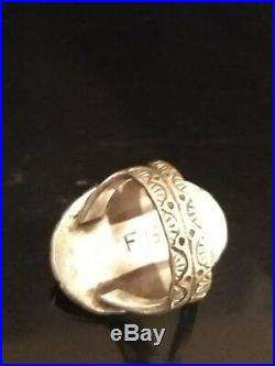 Size 5.5 Old Pawn Navajo SignedSterling Silver & Turquoise Ring Fred Guerro (D)