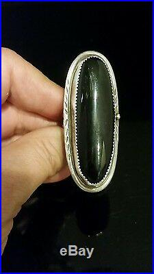 Size 8.5 Vintage Navajo Signed Sterling Silver & Black Onyx Ring Jean Dixon