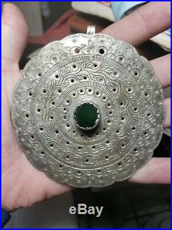 Spanish Colonial Silver Tupu Tupo Pin/Brooch Shawl Pin Green Antique Glass