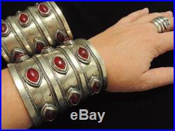Spectacular Pair of Vintage Turkoman Cuff Bracelets Ethnic Boho Statement Brac