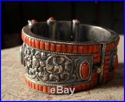 Statement Large Turquoise Coral Silver Boho Hippy Ethnic Bracelet