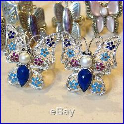 Sterling Silver Butterfly LOT SHUBE'S BJ. 925 MOP Charoite 8Pc 59.3g
