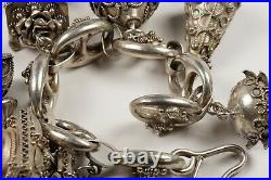 Sterling Silver Etruscan Style Bracelet with Six Large Granulated Charms