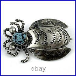 Sterling Silver Navajo Indian Turquoise Insect Pin Brooch Vintage RARE