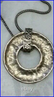 Sterling Silver Necklace & KABALAH Pendant SIGNED SHABLUL ISRAEL, 10.8 Gr