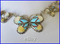 Sterling Silver Turquoise Butterfly Artistic Necklace 20 Inches Long