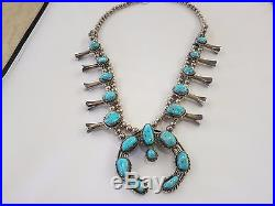 Sterling Silver Turquoise Squash Blossom Horseshoe Necklace 190 Gram