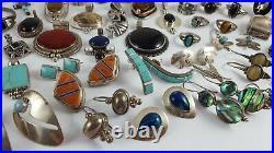 Sterling Silver Vintage Jewelry Lot Southwestern Zuni Taxco Bell Shubes 552Grams