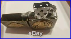 Sterling silver lighter with case flip top 800 peace picture possibly gold inlay