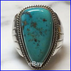 Stunning Silver Turquoise Navajo Native Ring Antique Loose Gem Stone 29x16mm