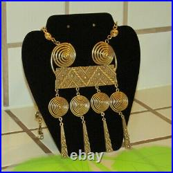 Stunning Vintage Chunky Exotic Medieval Tribal Egyptian Glam Massive Necklace