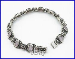 THAILAND 925 Silver Vintage Amethyst & Marcasite Flower Chain Bracelet B4074