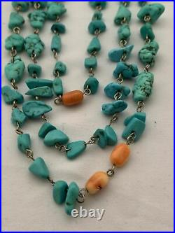 Triple Strand SOUTHWEST TURQUOISE Beaded Necklace 18 Long (67 Grams)