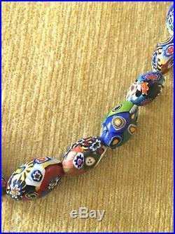 True Vintage Midcentury Venetian Murano Millefiori Bead Necklace 19.5