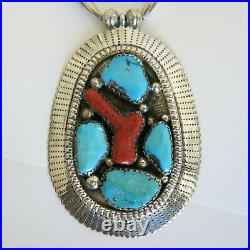 Tsabetsaye Griffin Zuni Sterling Blue Turquoise & Coral Necklace 91.4g 6100