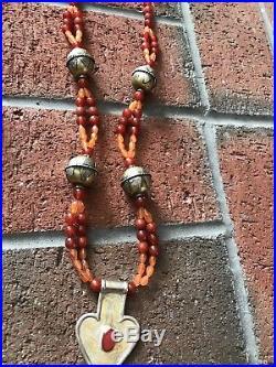 Turkmen Asyk vintage silver pendant & brass beads carnelian necklace