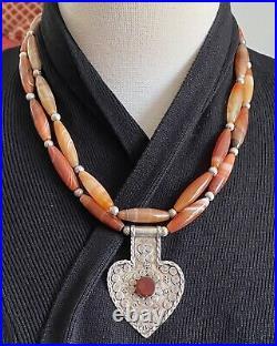 Turkmen Asyk vintage sterling silver pendant & old Banded carnelian necklace