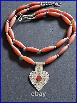 Turkmen Asyk vintage sterling silver pendant & old carnelian Gem 2 Rows necklace