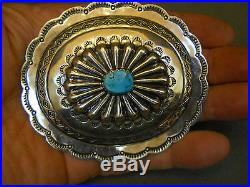 Turquoise sterling silver buckle 3 5/8 x 3