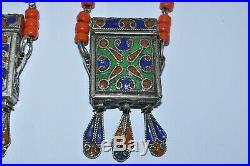 Two Vintage Moroccan Berber Enamel Quran Prayer Boxes with Coral Necklace
