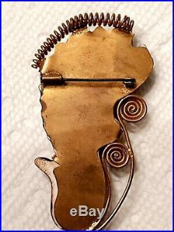 UNUSUAL Circa 1900 Art Nouveau DEMON DEVIL MAN BEAST MACABRE PIN BROOCH ODD RARE
