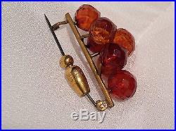 Ukrainian Rarest Prehistoric Amber Earrings, Necklace & Brooch Suite Estate