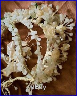 Ultra Rare! Old! Vtg 18th Wedinng Wreath Wax Museum piece Antique Ukrainian Folk