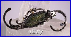 Unique Alligator Sterling Silver Travertine Pin Brooch Signed Ladysmith