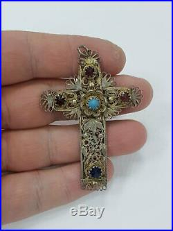 Unique Bulgarian National Revival Vidin goldsmith school silver gilt cross 19c
