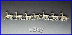 Unique Vintage Sterling Silver Peruvian Llama Link Bracelet