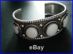 Unisex White Onyx Silver Bracelet / Wristband / Cuff Size M to L Heavy 67 Gr