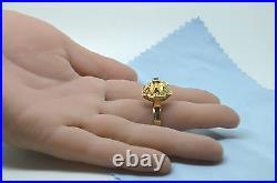 Unrestored Vintage Arte Orfebre Peruvian Gold Ring Hand Made & Beautiful